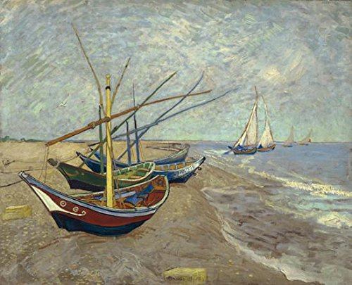 (Wieco Art Fishing Boats on The Beach at Les Saintes Maries Large Modern Framed Giclee Canvas Prints of Van Gogh Oil Paintings Seascape Pictures on Canvas Wall Art for Bedroom Kitchen Home Decor)