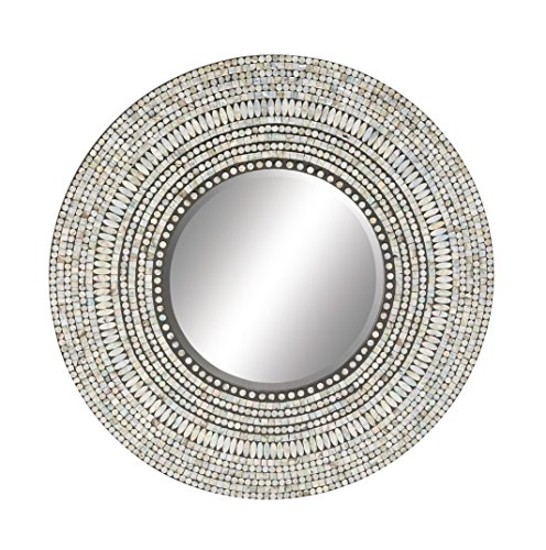 Deco 79 49074 Wood Shell Inlay Mirror, 32'' by Deco 79