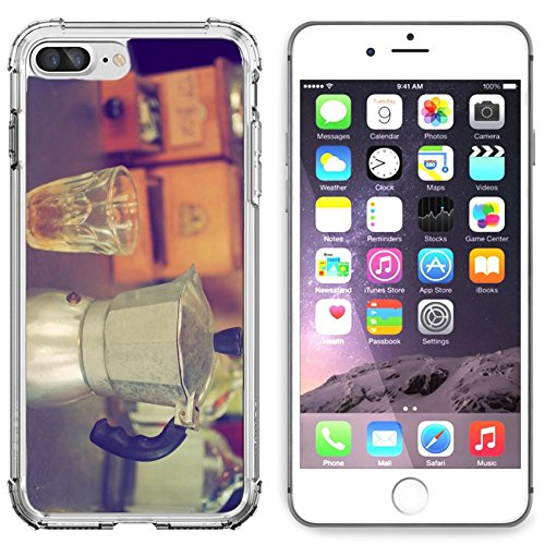 Luxlady Apple iPhone 6 Plus iPhone 6S Plus Clear case Soft TPU Rubber Silicone Bumper Snap Cases iPhone6 Plus iPhone6S Plus IMAGE ID: 34010862 coffee maker espresso machine on the table wood vintage c