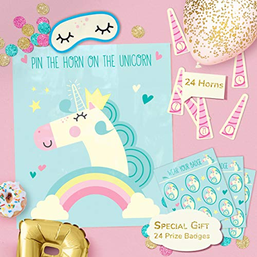 Hugo & Emmy Pin the Horn on the Unicorn Party Game for Birthday Parties and Sleepovers, Ideal for Kids and -