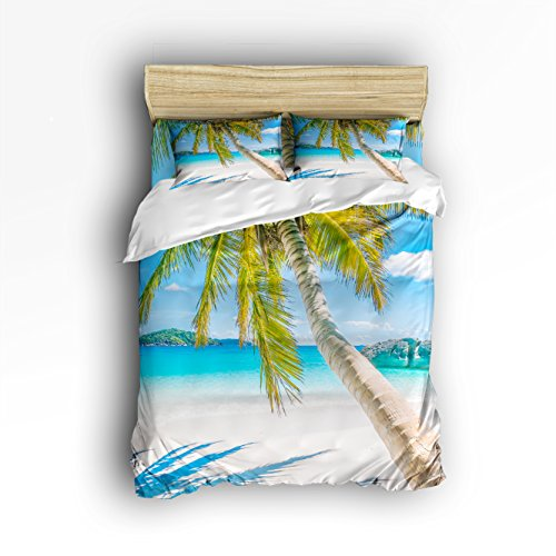 - VCFUN Family Comfort Bed Sheet Nature Beach Palm Tree 4 Piece Bedding Sets Polyester Duvet Cover Hypoallergenic Oversized Bedspread, King Size