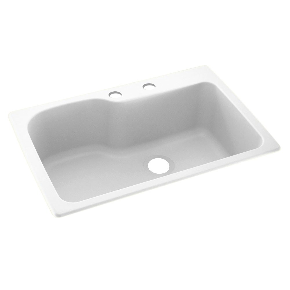 "Swanstone KS03322SB.010-2C 2-Hole Solid Surface Kitchen Sink, 33"" x 22"", White"