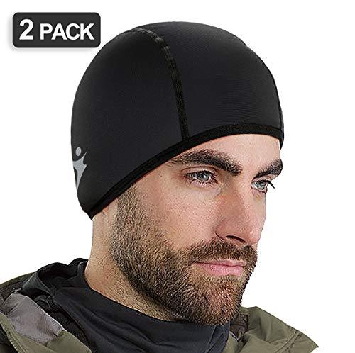Runhit Skull Cap - Thermal Helmet Liner for Cycling Running, Winter Hat Beanie for Men (2 Pack)