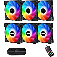 upHere 120mm RGB Case Fan, High Airflow RGB LED Case Fan for PC Cases, CPU Coolers,Radiators System,6-Pack,SR12-06-6