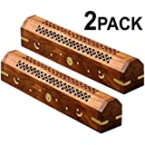 Cotton Craft - 2 Pack Wooden Coffin Incense Burner with Sun and Moon Inlays and Storage Compartment - 12x2x2 inches