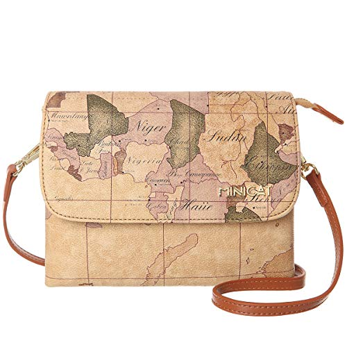 MINICAT World Map Series Synthetic Leather Small Crossbody Bags Cell Phone Purse Wallet Smartphone Bags For Women (Map-Small Size,)