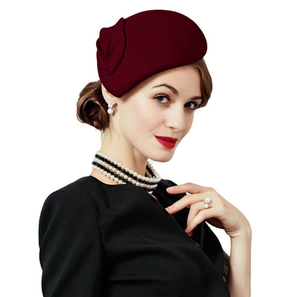 Flower Womens Dress Fascinator Wool Felt Fedora French Pillbox Hat Party Wedding (Wine red)