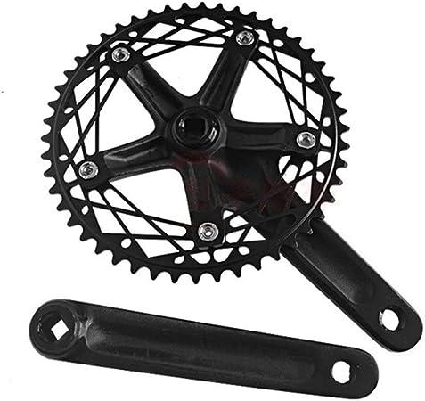 Ligera Pista de Bicicletas Fixie 49T BCD144 de Aluminio de una Sola Velocidad Bici de la Pista Bici del Camino del Engranaje Fijo la Bici Chainwheel Bielas (Color : Black): Amazon.es: Hogar