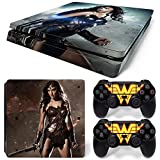 FriendlyTomato PS4 Slim Skin and DualShock 4 Skin - Super Hero WW- PlayStation 4 Slim Vinyl Sticker for Console and Controller Skin
