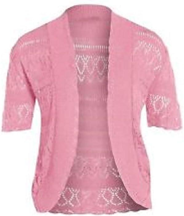 14be9a796f6c ZET New Ladies Knitted Crochet Short Sleeve Bolero Plus Shrug Open ...
