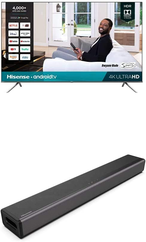 Hisense 85H6570G 85-Inch 4K Ultra HD Android Smart TV with Alexa Compatibility (2020) + Hisense 2.1 Channel Sound Bar Home Theater System with Bluetooth (Model HS214)