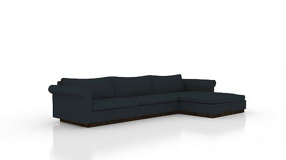 Amazon.com: Korakia Sofa/Chaise R Klein Azure Coffee Finish ...