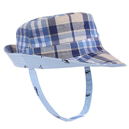 "Exemaba Toddler Sun Hat for Boys Girls - Baby Brim Sun Protection Hat Double-Sided Available Kids Play Hat Children Caps, Blue Grid, 19.7""(50cm)(1-2 Years)"