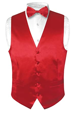82c89a5cb4af Biagio Men's Silk Dress Vest & Bow Tie Solid Rose RED Color Bowtie ...