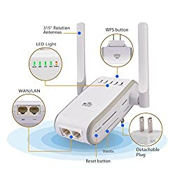 ULTRICS® Wifi Extender 300Mbps Wireless-N Range Wi-Fi Repeater Full Coverage Signal Booster Router- Multi-Functional Hotspot - 5 Working Modes- WPS Function-Easy Installation-Ethernet Cable Supported
