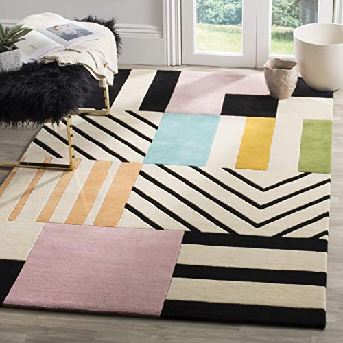 Safavieh Fifth Avenue Collection FTV122A Handmade Mid-Century Modern Abstract Wool Area Rug, 5′ x 8′, Ivory / Black