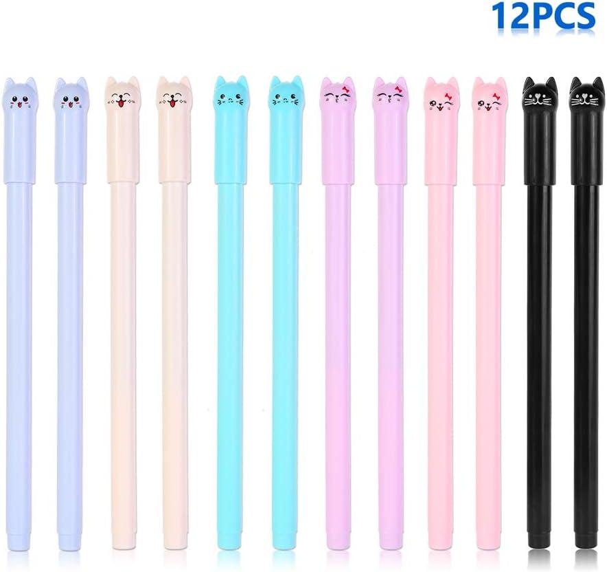 Kawaii - Bolígrafo de tinta negra para gato, bolígrafo de ...