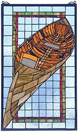 Lodge Tiffany Nautical Recreation Guideboat Stained Glass Window