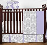 Lavender, Gray and White Elizabeth Damask Print Baby Bedding Collection Girl 4 Piece Crib Set Without Bumper