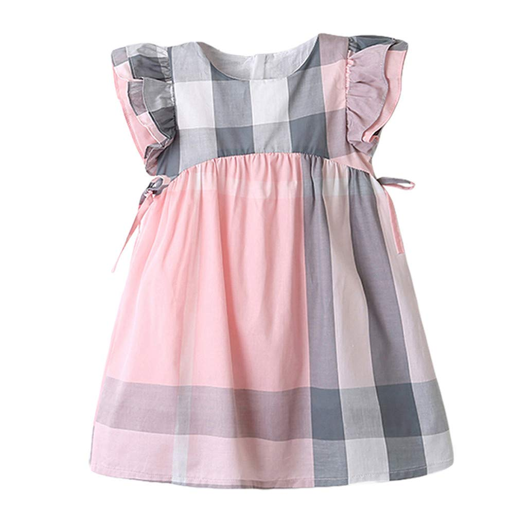 GIANTHONG Toddler Kids Baby Girls Summer Dress Plaid Print Bowknot Party Princess Dresses