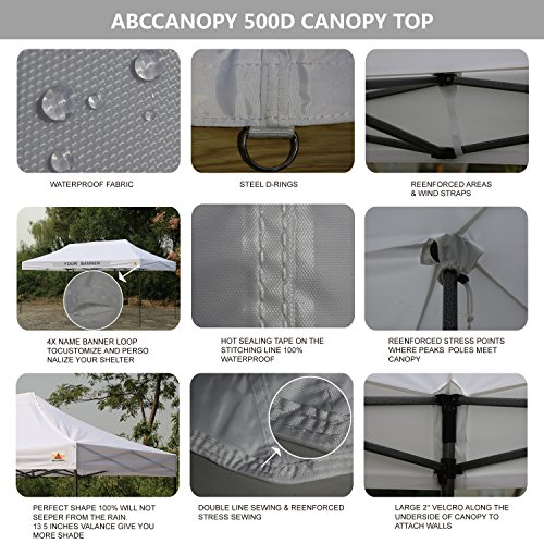 ABCCANOPY 18+ Colors 10×20 Pop up Tent Instant Canopy Commercial Outdoor Canopy Wheeled Carry Bag Bonus 6X Weight Bag (White)