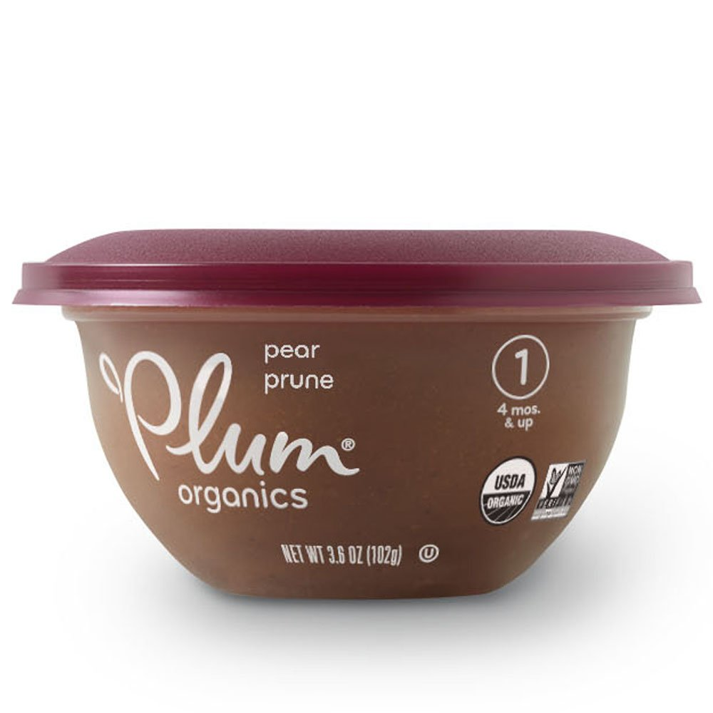 Plum Organics Baby Stage 1 Bowl, Organic Baby Food, Pear & Prune, 3.6 ounce bowl (Pack of 12)