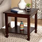 End Table, Espresso Two espresso end tables finish in espresso Constructed solid wood and MDF Shelf under table for storage Shelf and back Product Dimensions (L x W x H): 24.00 x 24.00 x 22.00 Inches