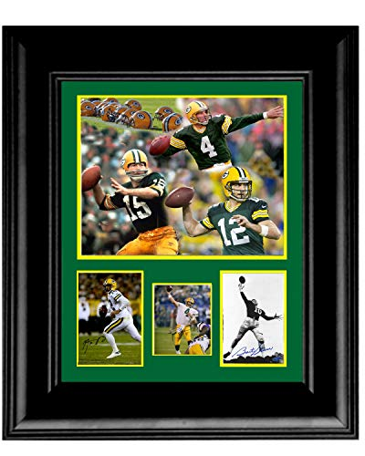 Gatsbe Exchange 16 x 20 Framed Photo Art Collage Green Bay Packers Quarterback Legends Bret Favre Arron Rogers Bart ()