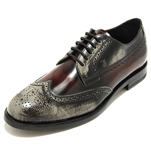 1888G scarpa bordeaux grigia TODS DERBY BUCATURE uomo shoes men grigio/bordeaux