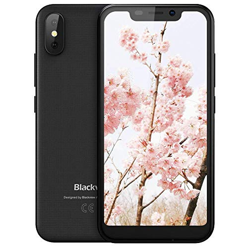 """Cell Phone Unlocked, Blackview A30 5.5""""(19: 9) HD IPS Full Screen 5+8MP Dual Camera 2GB+16GB 2500mAh Battery GSM 3G Dual SIM Free Factory Unlocked Smartphone for AT&T/T-Mobile Face Recognition (Black)"""