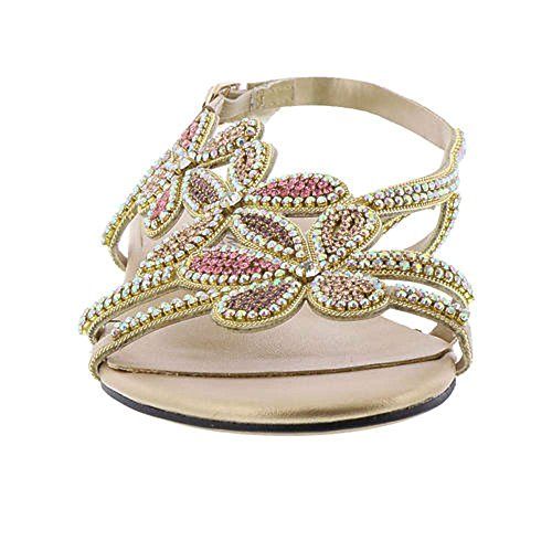 Beacon Womens shiy Jeweled Open Toe Casual Ankle Strap Sandals Gold QD0lWt9Qa