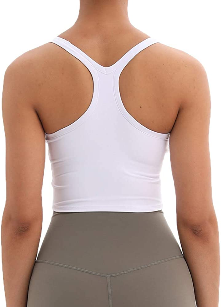 Women Paded Longline Sports Top Yoga Bra Tank with Removable Pads for Fitness Workout Running Crop Tops