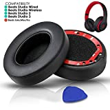 Professional Beats Studio Replacement Earpads Cushion by SoloWIT- Compatible with Beats Studio 2.0 & 3 Wired/Wireless with Soft Protein Leather/ Noise Isolation Memory Foam/ Strong Adhesive Tape