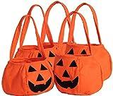 NAGU 5 PCS Halloween Pumpkin Bag Kids Candy Bag for Halloween Party Costumes