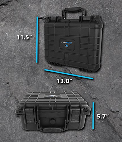 CASEMATIX Waterproof Carrying Case Designed For DBPower T20 1500 Lumens Home Theatre Projector , Remote , Power Supply , Cables and Accessories by CASEMATIX (Image #7)