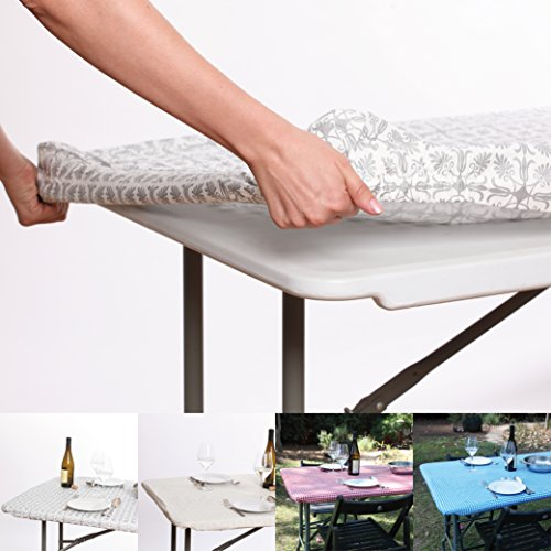 BEST Waterproof Reusable Elastic Edged Flannel Backed Vinyl Fitted Table Cloth for Travel, Picnics,Parties and Outdoor.Fits 6 ft. Folding trestle/banquet/picnic Table (30
