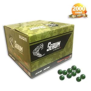 Serum 2000CT .68 Calibre Caliber splash paint paintball balls toy games sport (Green S)