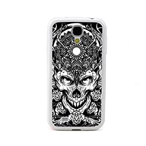 CaseCityLiu - Glower 3D Skull With Flowers Design White Bumper Plastic+TPU Case Cover for Samsung Galaxy S4 SIV I9500