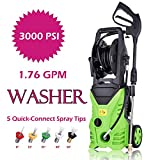 Oanon 3000 PSI Electric High Pressure Washer 1.76 GPM 1800W Electric Power Washer with 5 Quick-Connect Spray Tips