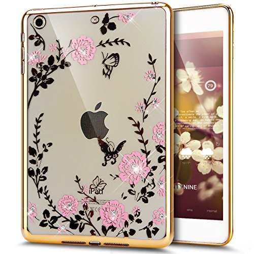 Price comparison product image iPad Mini Case,ikasus Pink Butterfly Floral Flower Bling Crystal Rhinestone Diamonds Clear Rubber Golden Plating Frame Soft TPU Silicone Protective Bumper Case Cover for iPad Mini 3/2/1