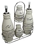 D'Lusso Designs CS01 Grape Set 4 Pc Oil Salt Pepper with Metal Caddy