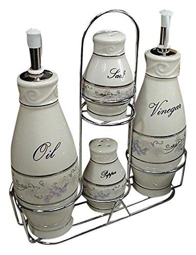 D'Lusso Designs CS01 Grape Set 4 Pc Oil Salt Pepper with Metal Caddy