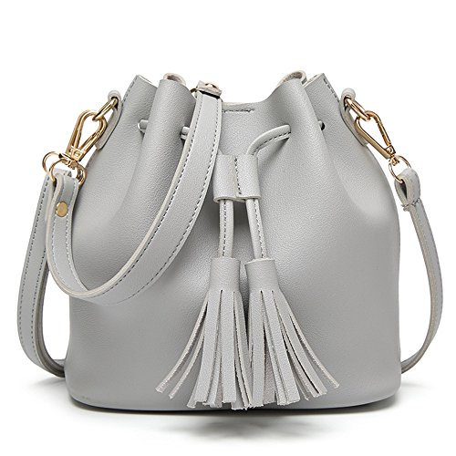 Women Buckets Gray Satchel Crossbody Bag Tote Bags Shoulder Hobos Tassel Messenger Handbag tSqHdqwa