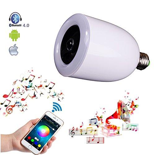 Demetory Smart Bluetooth Music Wireles Bluetooth Speaker Lamp E26 E27 Stereo Surround Sound LED Light Bulb Speaker (White)