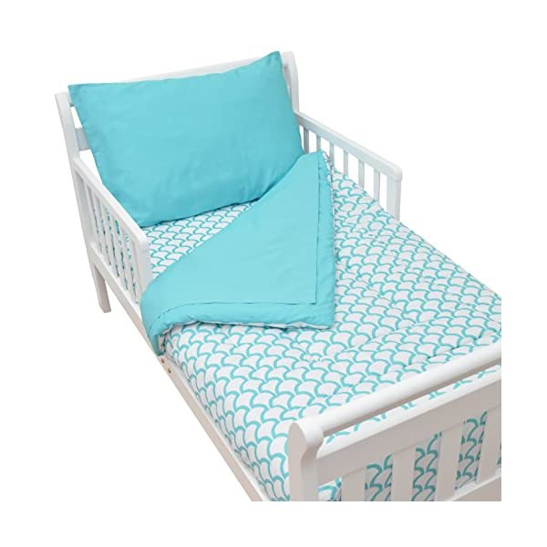 American Baby Company 100% Cotton Percale 4-Piece Toddler Bedding Set, Aqua Sea Wave, for Boys and Girls 1