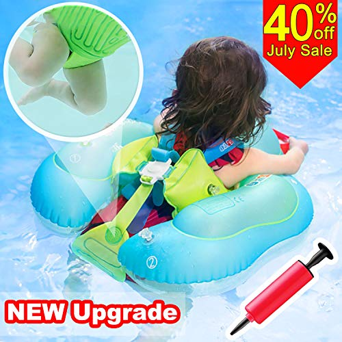 Baby Pool Float-Upgrade Baby Swimming Float Ring with Safety Seat Crotch Strap and Adjustable Waist Strap Swim Trainer Age of 3-30 Months 11-35 lb Baby Floats Summer Outdoor Beach Water Fun Pools Toy