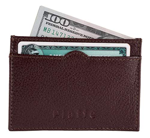 Slim RFID Blocking Cardholder with 3 card Slots- Wine Maroon (Leather Credit Card Wallet)