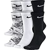 NIKE Unisex Everyday Max Cushion Crew Socks (6 Pairs), Grey Camo/White/Black, Medium
