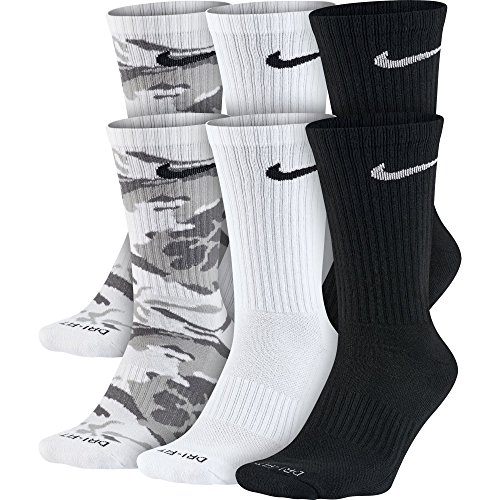 NIKE Unisex Everyday Max Cushion Crew Socks (6 Pairs), Grey Camo/White/Black, Large