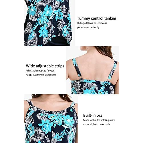 3e3f511afb PERONA Plus Size Swimwear Tankini Swimsuit Women Tummy Control Two Piece  Bathing Suit Floral Printed Size